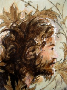 Portrait - WilliamMorrisTribute - Encaustic on wood