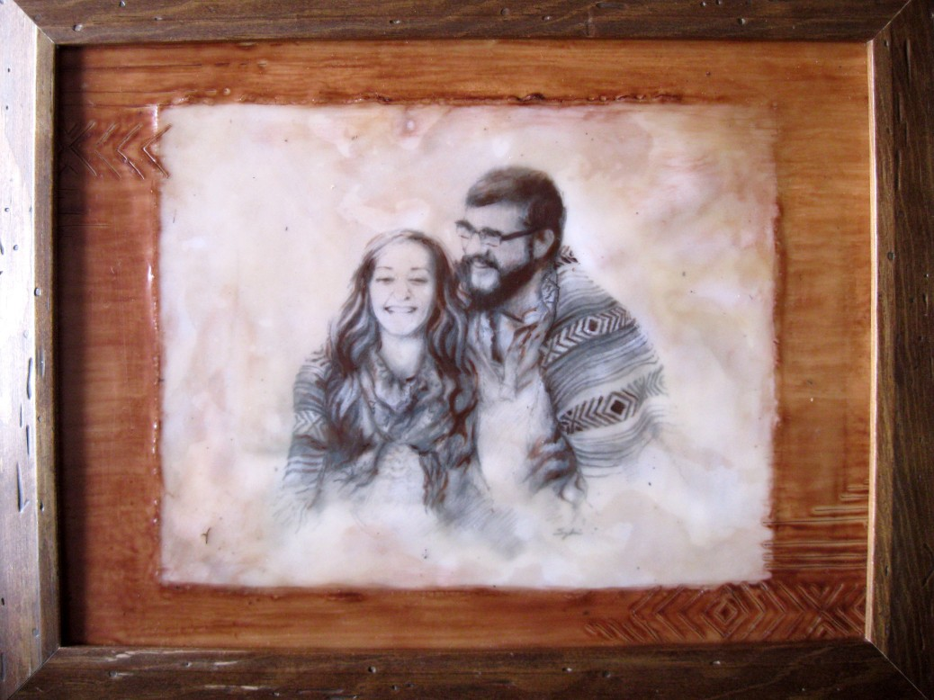 Wedding Portrait (encaustic painting)