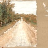 Country Road - study for children's book illustration background - ink and gouche on toned paper, 2014