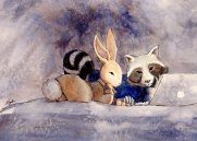 Raccoon Loves Rabbit (private commission, series 2/4) - watercolor 2013