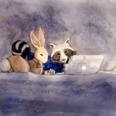 Raccoon and Rabbit - traditional watercolor illustration, commissions (1 of 4 in a series) - 2014