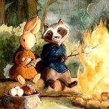 Raccoon Loves Rabbit (private commission, series 3/4), 2014