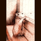 Hamster Greets the Snow (Chiustream, Dec. 2014) - red ink drawing, 2014